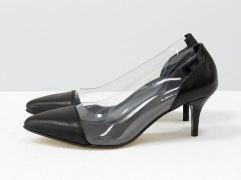 Туфли с силиконовыми вставками черные на шпильке , Т-1910-02