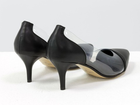 Туфли с силиконовыми вставками з натуральной кожи черного цвета на шпильке