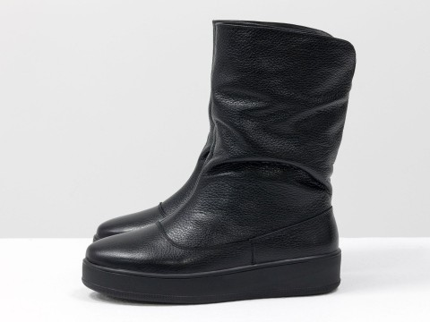 Женские ботинки на платформе черного цвета, М-19112-02