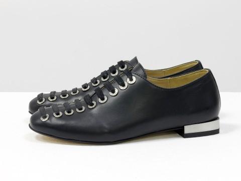 Женские черные туфли на шнуровке по всей высоте из кожи , Т-1915-01