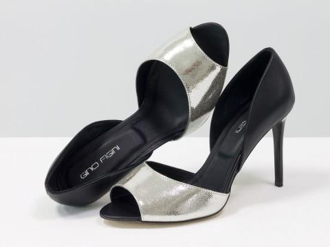 Туфли летние из натуральной кожи черного и серебряного цвета на шпильке,  С-1926-05