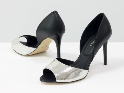 Туфли летние из натуральной черной и серебряной кожи с открытым носиком на шпильке