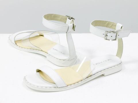 Женские босоножки белого цвета из натуральной кожи со вставкой из силикона