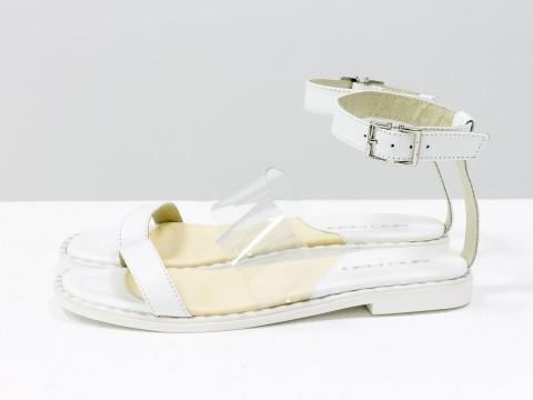 Женские босоножки белого цвета из кожи со вставкой из силикона, С-1940-03