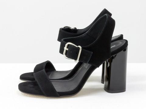 Черные босоножки на высоком каблуке из натуральной замши, С-1951-06