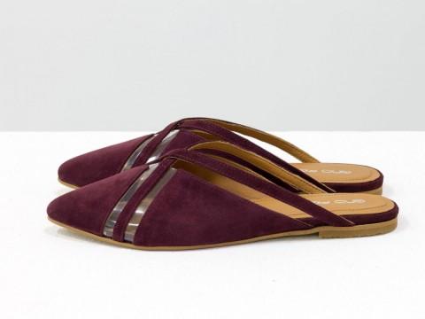 Дизайнерские мюли из натуральной замши-велюр бордового цвета и вставками из мягкого силикона, С-2037-02
