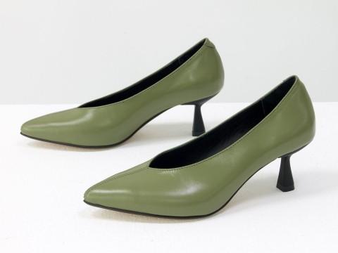 """Дизайнерские туфли-перчатки на невысоком каблуке """"рюмочка"""" из натуральной итальянской кожи фисташкового цвета,  Т-2050-16"""