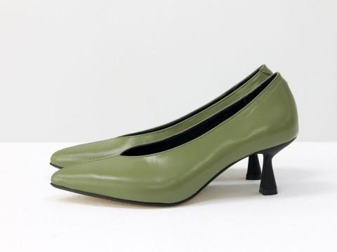 Дизайнерские туфли-перчатки на невысоком  каблуке из натуральной итальянской кожи фисташкового цвета,  Т-2050-16