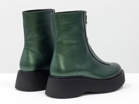 Завышенные зеленые ботинки  из натуральной  кожи с молнией, Б-2103-02