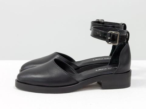 Черные туфли на маленьком каблуке из кожи с ремешком, Д-23-26