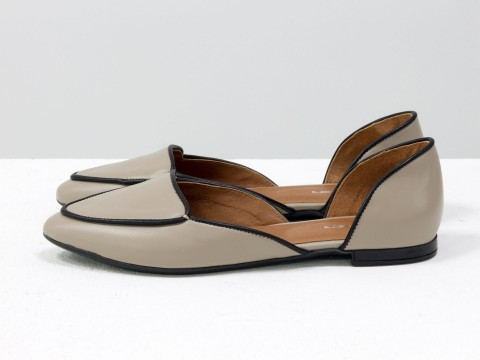 Туфли лодочки на низком ходу из кожи бежево-черного цвета , Д-24-07
