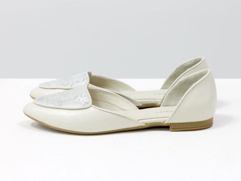 туфли лодочки на низком ходу из кожи молочного цвета , Д-24-11