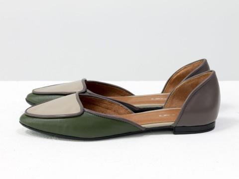 Туфли лодочки на низком ходу из натуральной кожи болотного цвета, Д-24-15