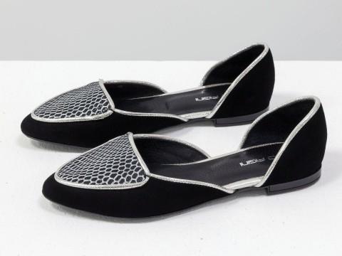 Туфли лодочки на низком ходу из натуральной замши черно-серебряного цвета