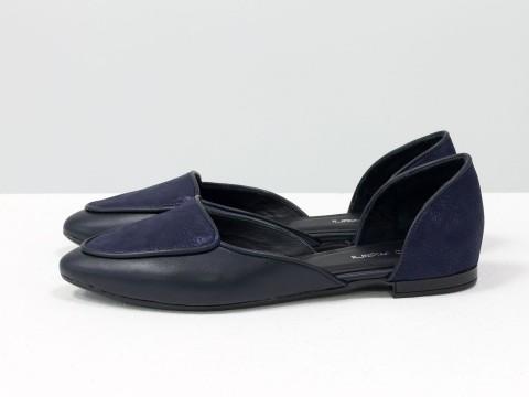 Синие туфли лодочки на низком ходу из натуральной кожи, Д-24-33