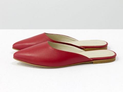 Красные бабуши женские из натуральной кожи, Т-17428-06