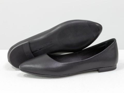 Женские классические балетки из натуральной черной кожи