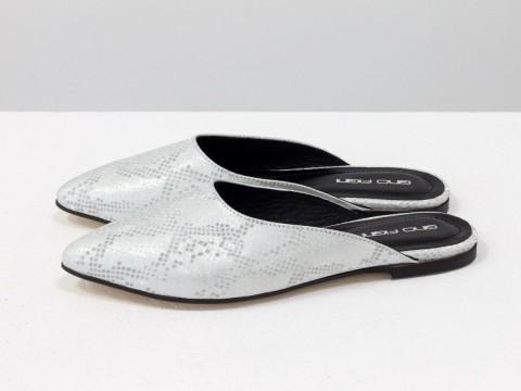 Мюли на низком ходу из кожи с текстурой питон серо-серебряного цвета,Т-17428-02