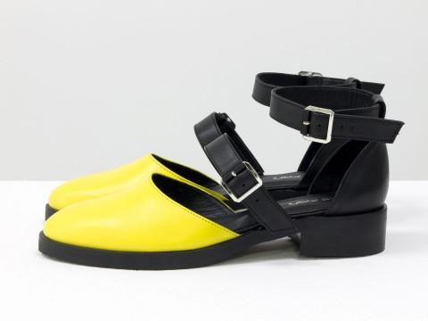 Женские туфли на маленькомкаблуке из кожи, Д-23-16