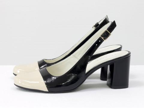 Женские туфли черно-бежевого цвета на каблуке