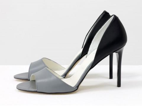 Туфли с открытым носком из кожи серо-черного цвета на шпильке , С-704-37