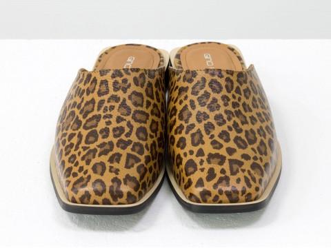 Стильные дизайнерские мюли с квадратным носком из натуральной итальянской кожи леопардового цвета на квадратном современном каблуке, С-2007-08