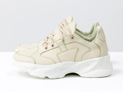 Нюдовые базовые кроссовки из натуральной кожи на модной высокой подошве