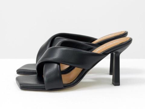Дизайнерские черные шлёпанцы на небольшом каблуке из натуральной итальянской кожи, С-2130-01