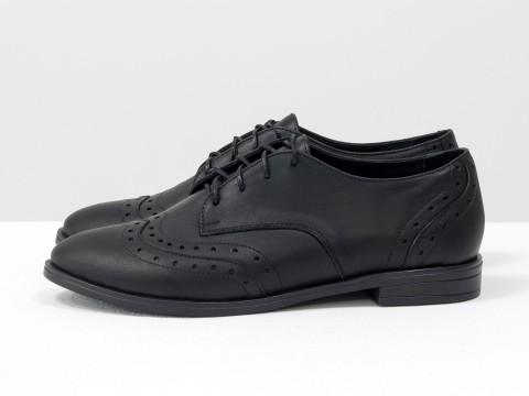 Женские туфли оксфорды из натуральной черной кожи на шнуровке , Т-415-11