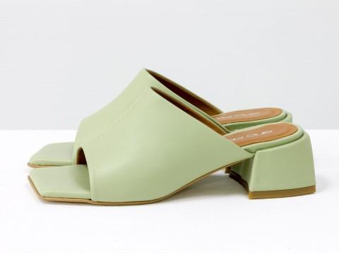 Дизайнерские шлёпанцы на небольшом каблуке из натуральной итальянской мятной  кожи, С-2127-01