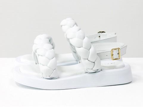 Женские белые босоножки  на утолщенной подошве из натуральной кожи, С-2129-01