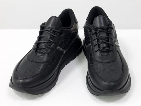 Женские черные кеды из натуральной кожи с перфорацией на утолщённой подошве, Т-2124-02