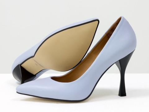 """Дизайнерские туфли-лодочки на высоком каблуке """"рюмочка"""" из натуральной итальянской кожи небесного цвета,  Т-2107-02"""