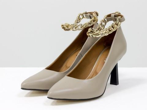 """Дизайнерские туфли-лодочки на невысоком каблуке """"рюмочка"""" из натуральной итальянской кожи с золотой цепочкой,  Т-2115-04"""
