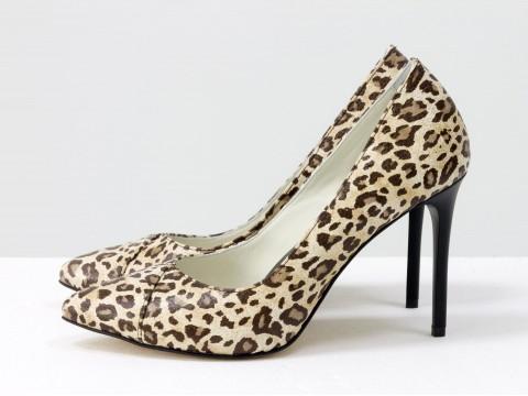 Леопардовые женские туфли из кожи на глянцевой шпильке,  Д-31-02