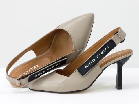 """Дизайнерские бежевые туфли-лодочки на высоком каблуке """"рюмочка"""" из натуральной итальянской кожи,  Т-2114-02"""