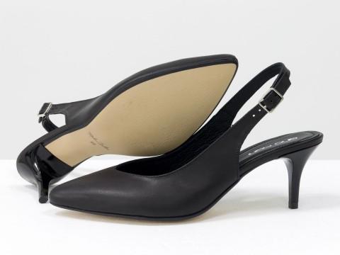 Черные туфли с открытой пяткой из натуральной кожи на шпильке