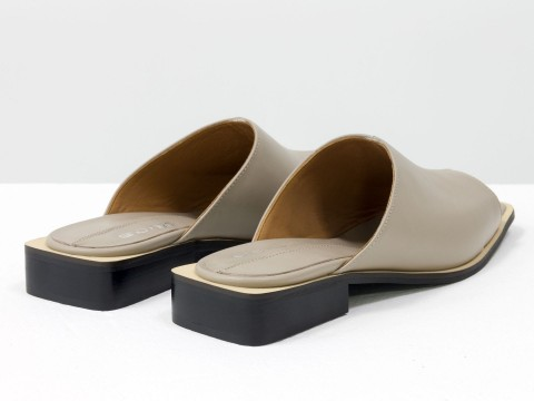 Стильные дизайнерские шлепки с квадратным носиком из натуральной итальянской кожи бежевого цвета  на квадратном современном каблуке, С-2039-03