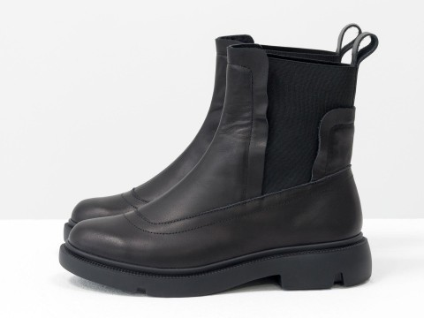 Женские ботинкис резинкой из кожи черного цвета, Б-1825-03