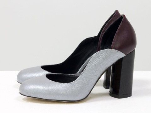 Женские серые туфли на каблуке из натуральной кожи флотар