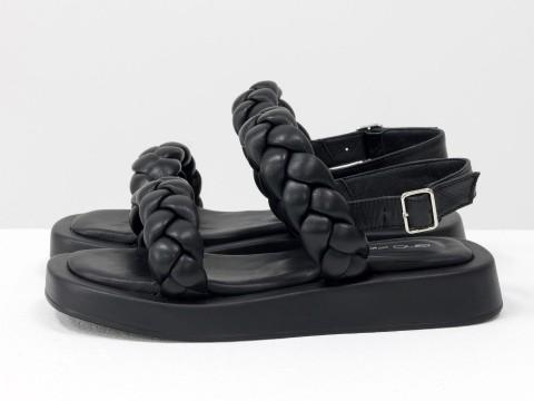 Женские черные босоножки  на утолщенной подошве из натуральной кожи, С-2129-02