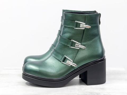 Женские демисезонные ботинки из кожи на среднем каблуке, Б-1668-10