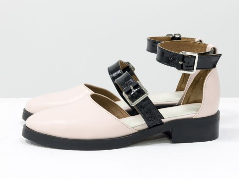 Бежевые туфли из кожи, Д-23-01