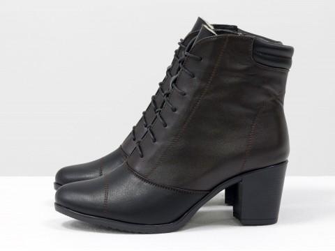 Женские ботинки на среднем каблуке из кожи черного и темно-коричневого цвета, Б-157-12