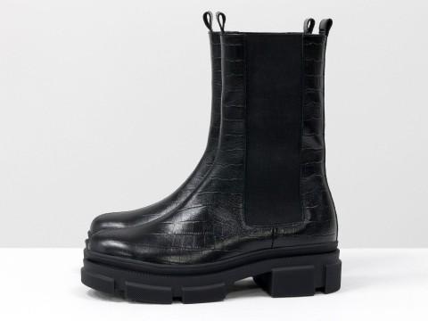 """Высокие  ботинки """"челси"""" из черной кожи с текстурой """"крокодил"""" на тракторной подошве, Б-2078-07"""