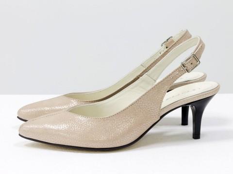 Пудровые туфли с открытой пяткой из натуральной кожи на шпильке , С-1909-02