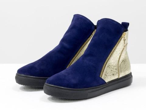 Женские спортивные ботинки из натуральной кожи и замши сине-золотого цвета