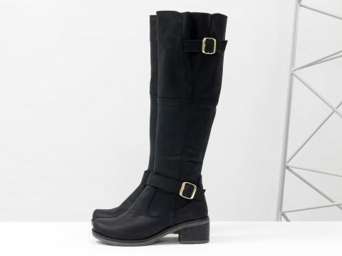 Женские сапожки из матовой кожи черного цвета на не высоком устойчивом каблуке, М-50-08