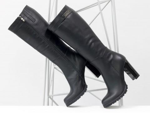 Сапоги женские черные из натуральной кожи на молнии с ремешком,  М-410-03