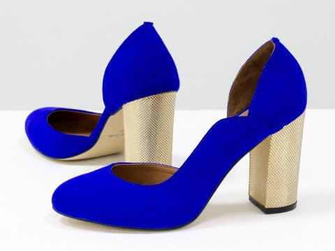 Ярко-синие туфли из натуральной замши на золотом каблуке,Т-17423/-01
